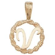 9ct Gold Round rope edged Initial letter V pendant 0.8g